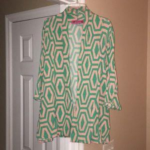 Geometric polyester cardigan